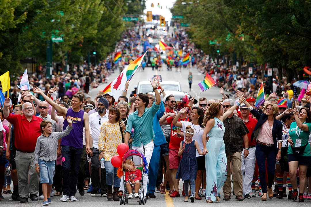 2016年7月31日 ,加拿大總理杜魯道( Justin Trudeau)與家人參加溫哥華同志大遊行。