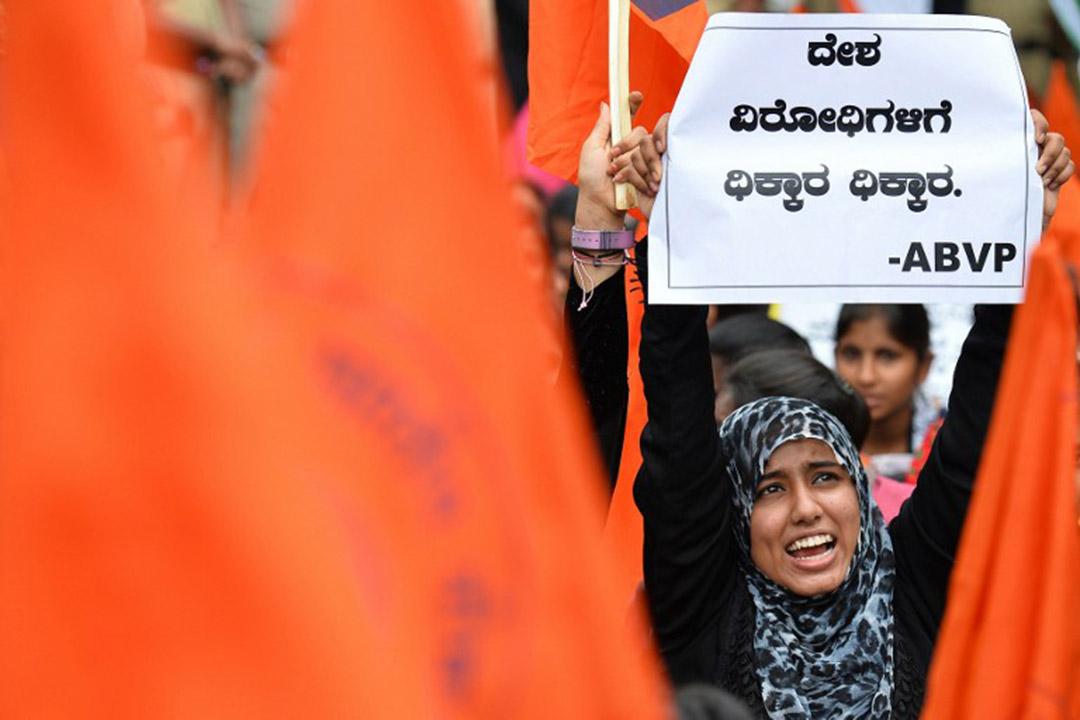 ABVP 全印學生會組織學生參與示威活動。