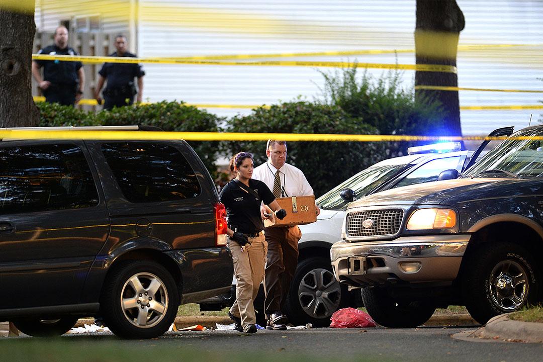 警方在基斯·斯科特(Keith Lamont Scott)被警員槍射現場進行調查。