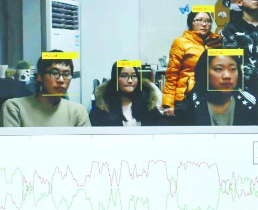 四川大學教授魏驍勇通過視頻中學生們的面部表情變化,分析學生們的聽講程度。