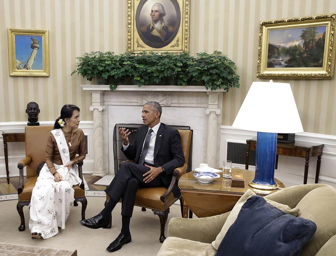 2016年9月14日,美國總統奧巴馬在白宮與緬甸國務資政兼外長昂山素姬會面。