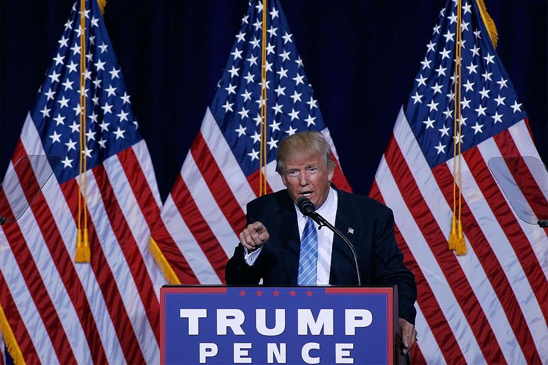 2016年8月31日,亞利桑那州鳳凰城,特朗普在一個競選活動上演說。