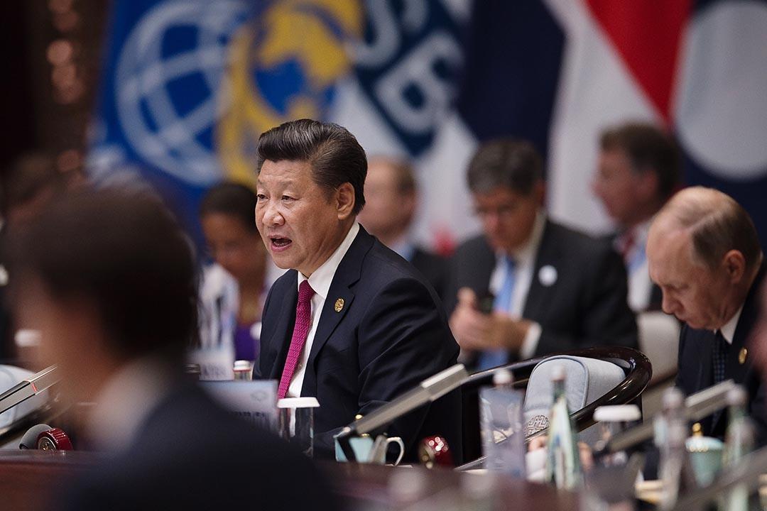 中國國家主席習近平在G20國的開儀幕式上致詞。