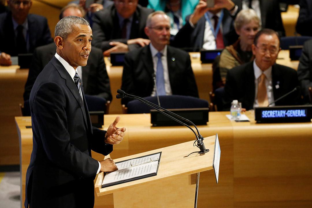 2016年9月20日,紐約,美國總統奧巴馬於聯合國「難民峰會」(Summit for Refugees and Migrants)發表講話。