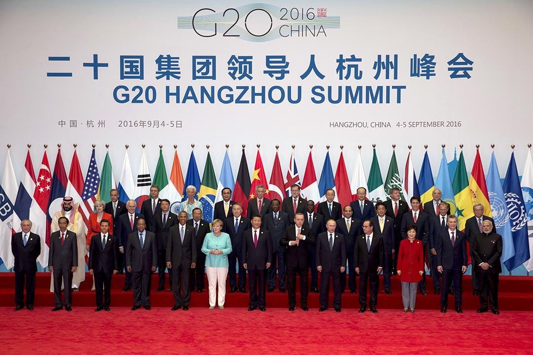 各國國家首腦和歐盟領導人出席的二十國集團工商峰會。