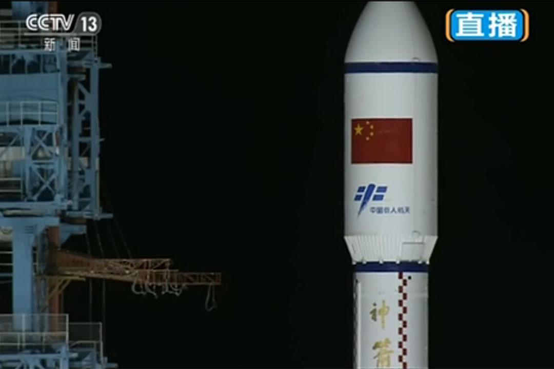 中國天宮二號太空實驗室在甘肅酒泉衞星發射中心由長征二號 F 改進型運載火箭(T2)成功發射升空。