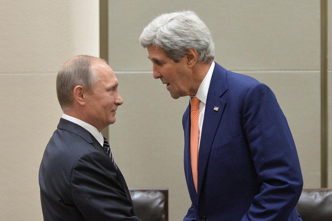 2016年9月5日,中國,俄羅斯總統普京與美國國務卿克里在(G20)杭州峰會會面。