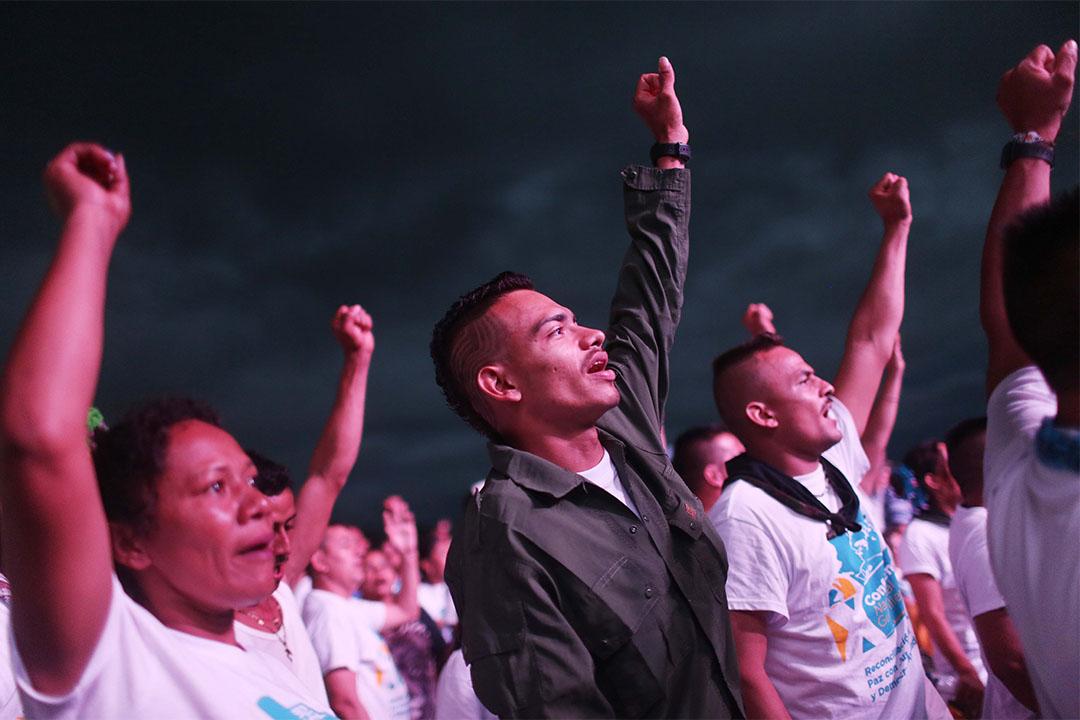 2016年9月23日,哥倫比亞革命軍FARC的支持者在慶祝FARC與政府達成和平協議。
