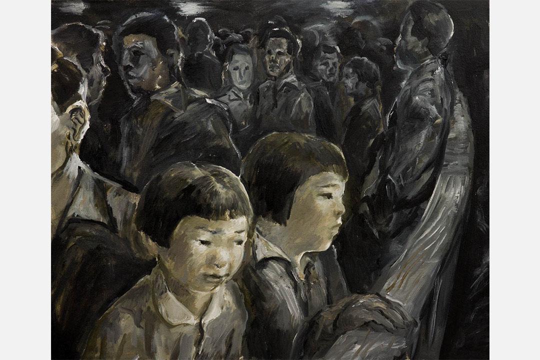 日本畫家太久保薰為紀錄片《海的彼端》繪製的情境示意圖。