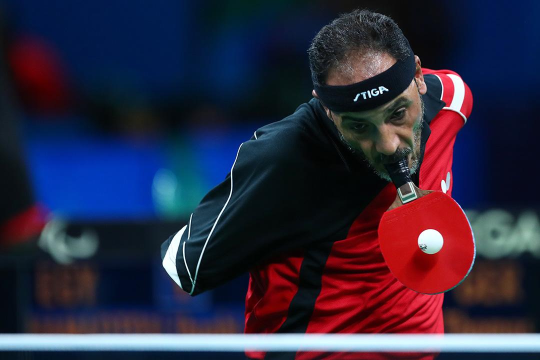 埃及選手Ibrahim Hamadtou出賽男子單打桌球項目。