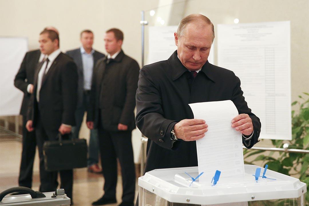 2016年9月18日,俄羅斯莫斯科,總統普京到票站投票。