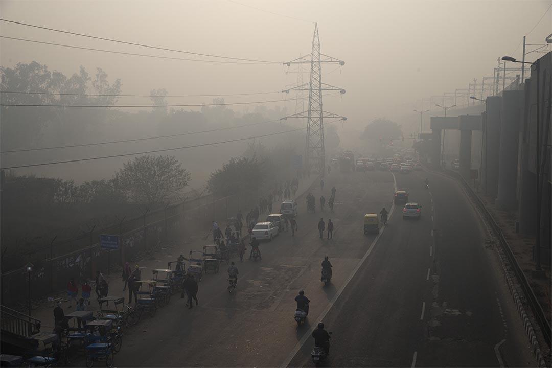 圖為2016年1月4日,印度新德里空氣污染情況。