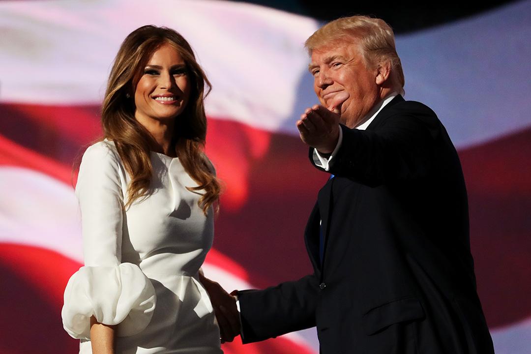 美國共和黨總統參選人特朗普(Donald Trump)與妻子梅拉尼亞(Melania Trump)。