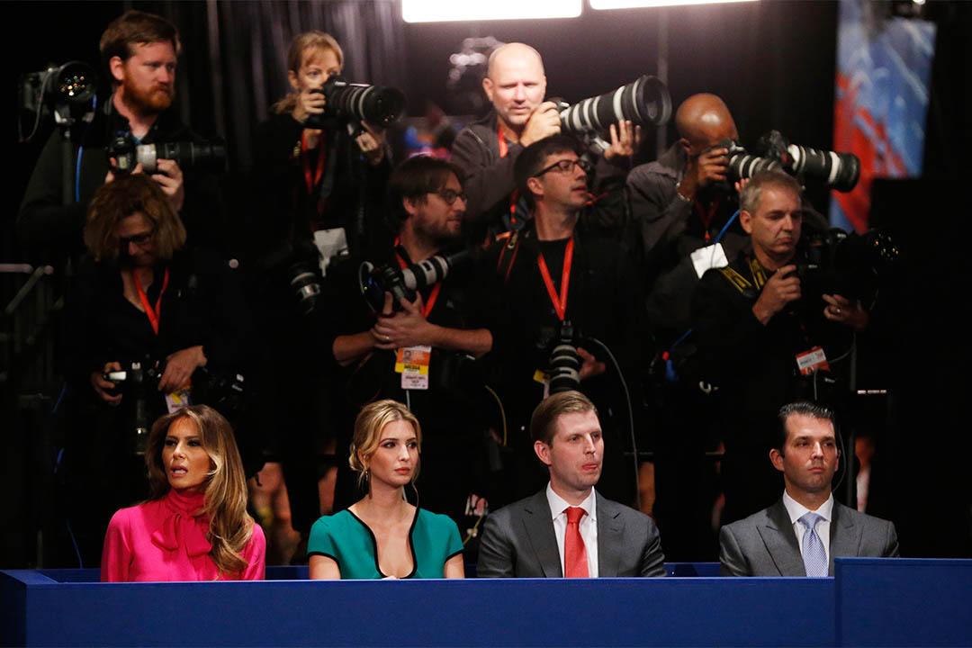 2016年10月9日,美國兩黨總統候選人進行第二次電視辯論。 圖為特朗普的家庭。