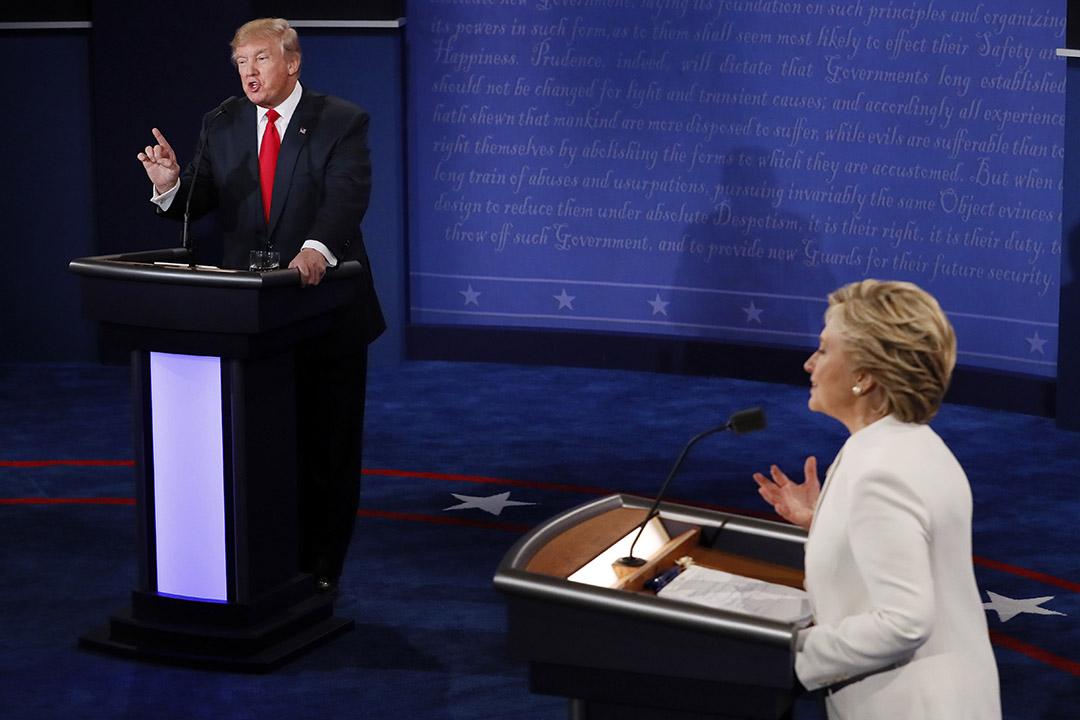 希拉莉(Hillary Clinton)與特朗普(Donald Trump)展開激烈辯論。