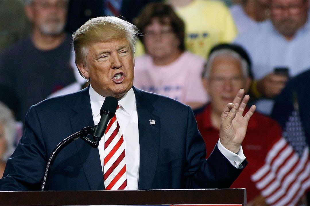 2016年10月4日,共和黨總統候選人特朗普在競選活動中發言。