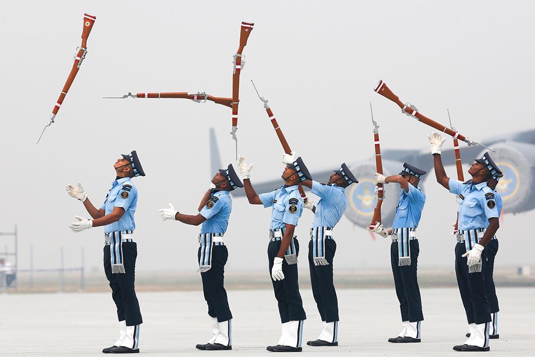 2016年10月6日,印度新德里,空軍正在綵排表演。