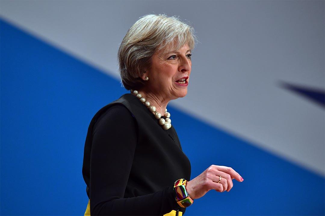 圖為2016年10月2日,英國首相文翠珊在保守黨會議上談及脱歐。