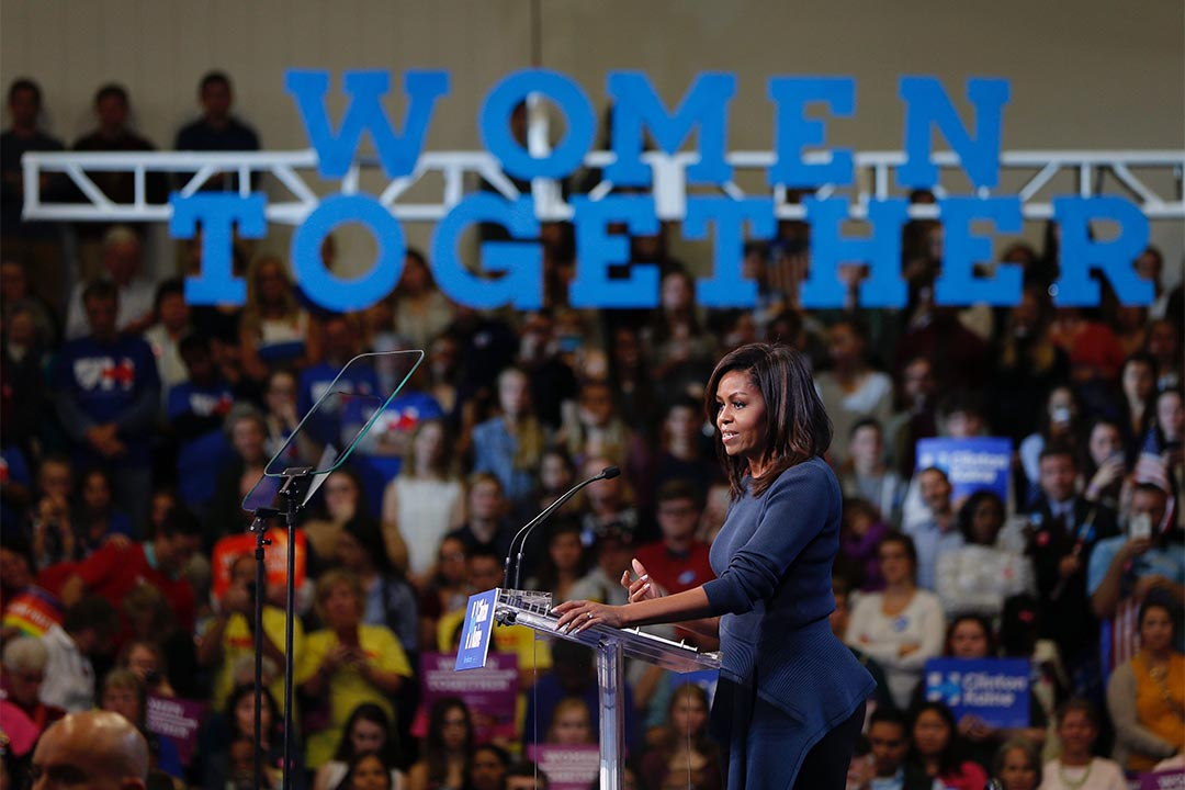 米歇爾.奧巴馬發表演講批評特朗普。圖為2016年10月13日,米歇爾.奧巴馬為希拉莉的競選活動站台。
