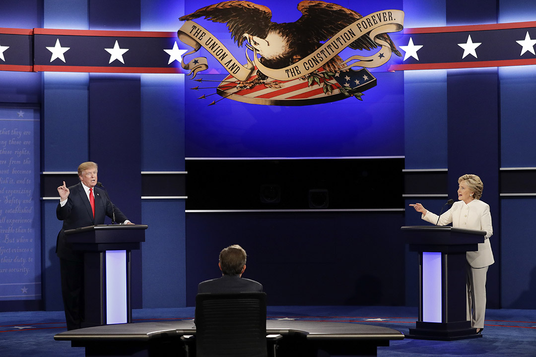 民主黨候選人希拉莉(Hillary Clinton)和共和黨候選人特朗普(Donald Trump)於11月8日投票日前的最後一場電視辯論。