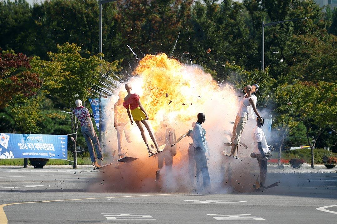 2016年10月6日,南韓首爾,反恐部門正進行演集。
