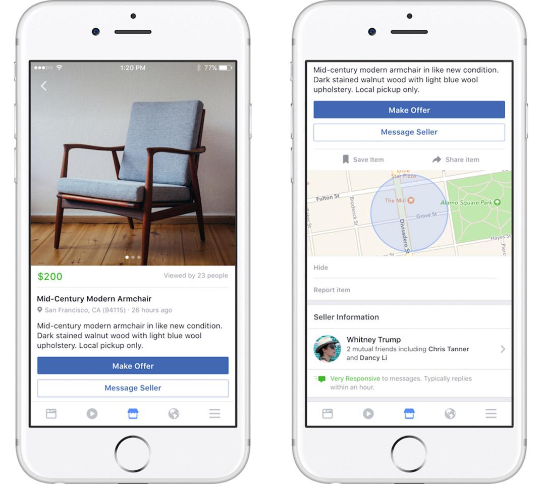 Facebook推出新網上功能「市集」(Marketplace),容許用戶相互進行買賣交易。