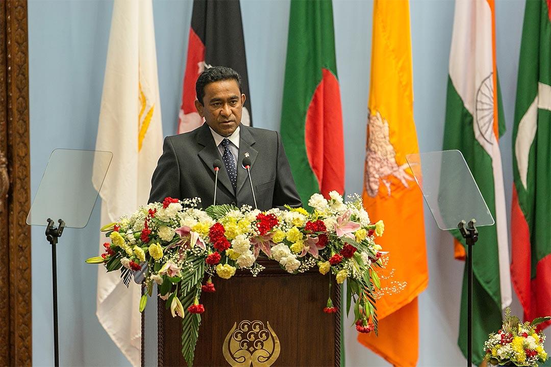 馬爾代夫宣布脫離英聯邦。圖為2014年11月26日,尼泊爾,馬爾代夫總統Abdulla Yameen在一個峰會上發言。