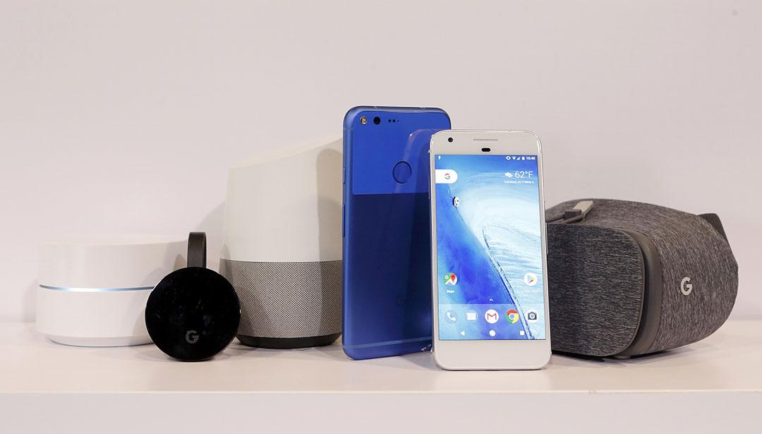 Google新推出產品。路由器-Google Wifi, 電視盒-Google Chromecast Ultra, 智能家居產品-Google Home, 手機-Google Pixel XL, Google Pixel 及虛擬眼鏡產品-Google Dreamview VR。