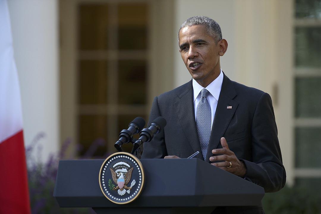 2016年10月18日,奧巴馬在白宮見記者。