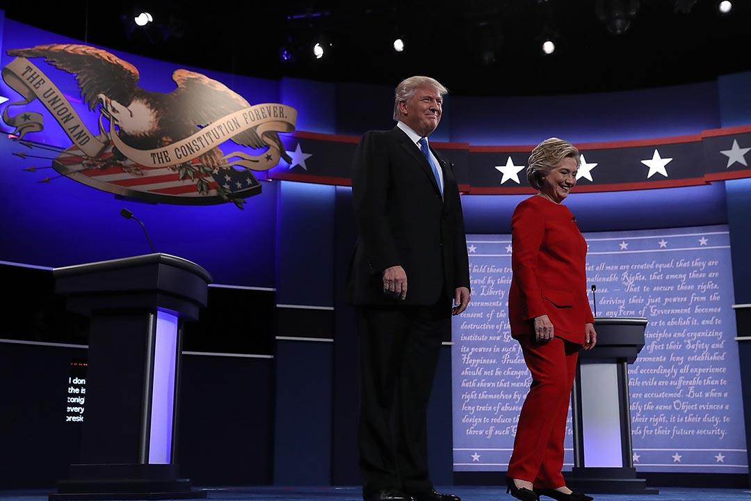 圖為2016年9月26日,兩名總統候選人第一次電視辯論。