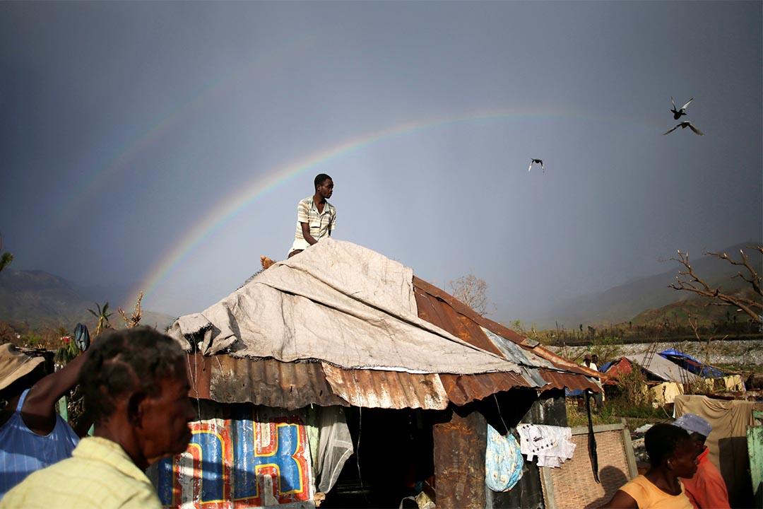 2016年10月13日,海地,一名男人於屋頂裝上防水布。