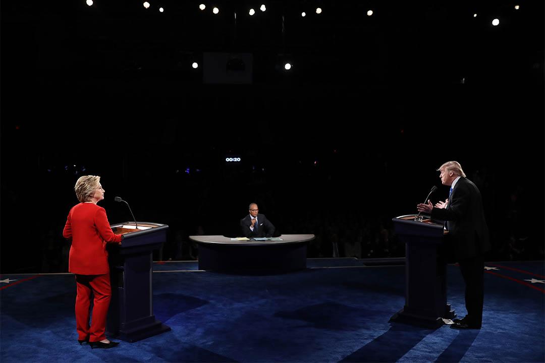 图为2016年9月26日,美国纽约,两党总统候选人第一次电视辩论。