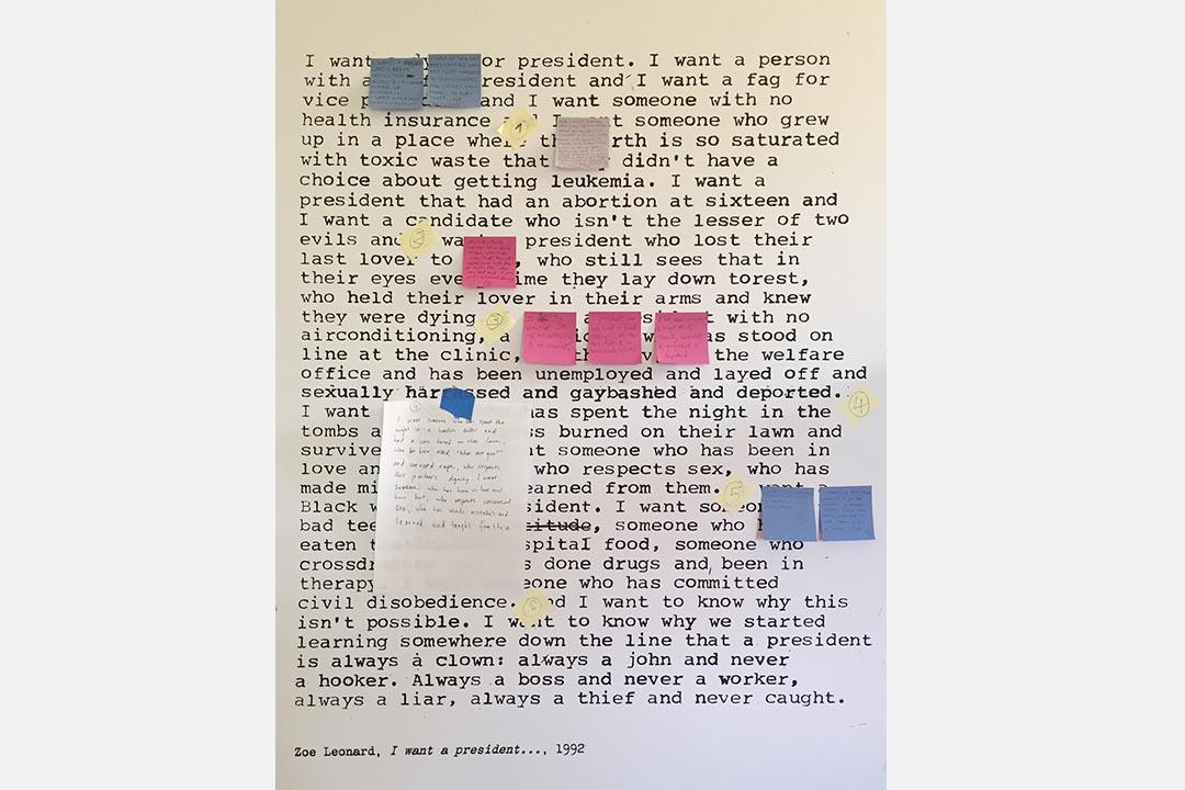 人們將Zoe Leonard於1992年的文本再創作,寫下對總統的願望。