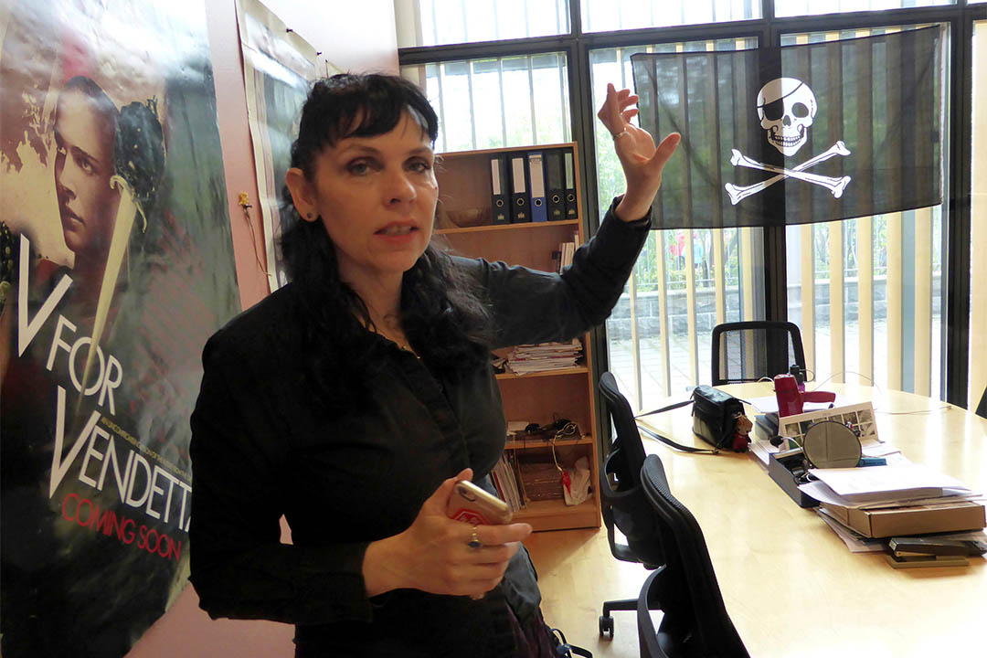 冰島海盜黨或將贏得下週該國大選。圖為2016年5月25日,冰島海盜黨領袖Birgitta Jonsdottir在其黨的辦公室內。