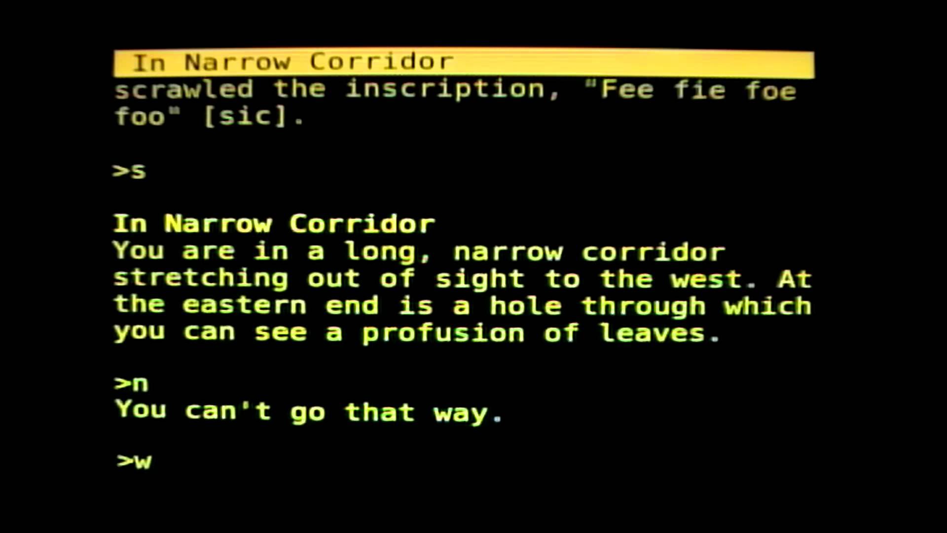 《巨洞冒險》(Colossal Cave Adventure)遊戲截圖