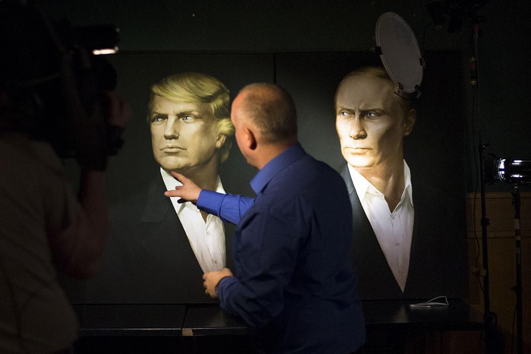 俄羅斯莫斯科一間酒店,牆上掛有剛當選美國總統特朗普和俄羅斯總統普京的畫像。