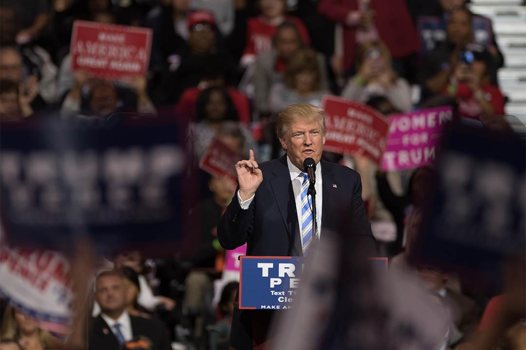 2016年10月22日,特朗普在俄亥俄州的競選活動中演講。