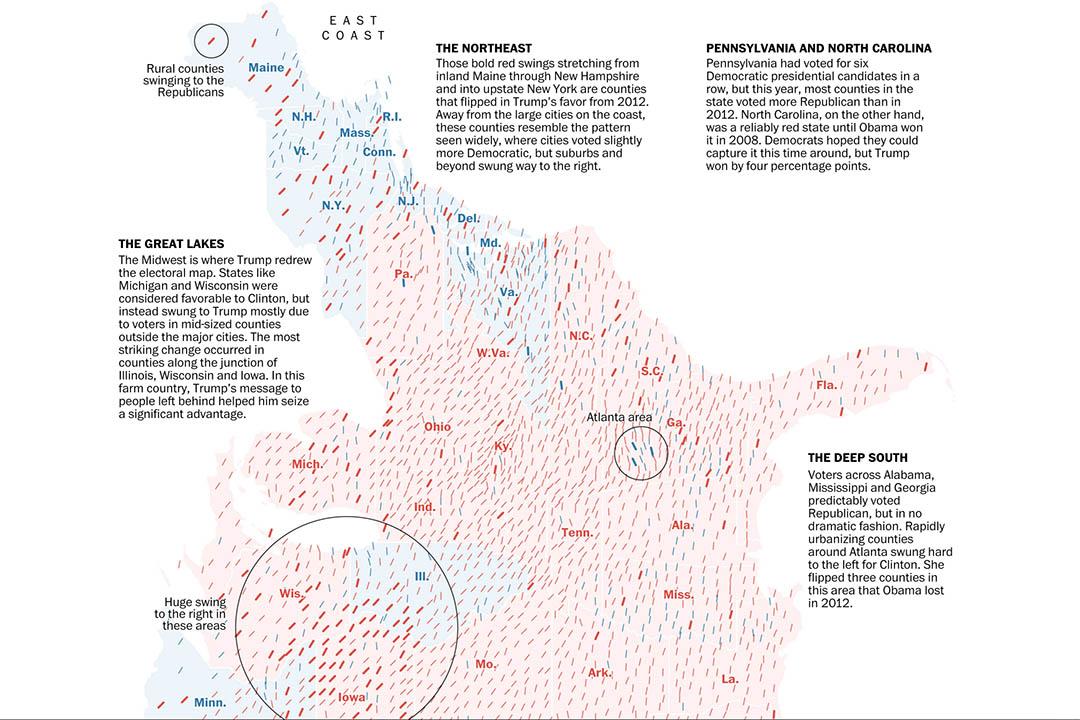 《华盛顿邮报》专题《How Trump redrew the electoral map, from sea to shining sea》(从西岸到东岸,特朗普如何重绘选举地图)截图。