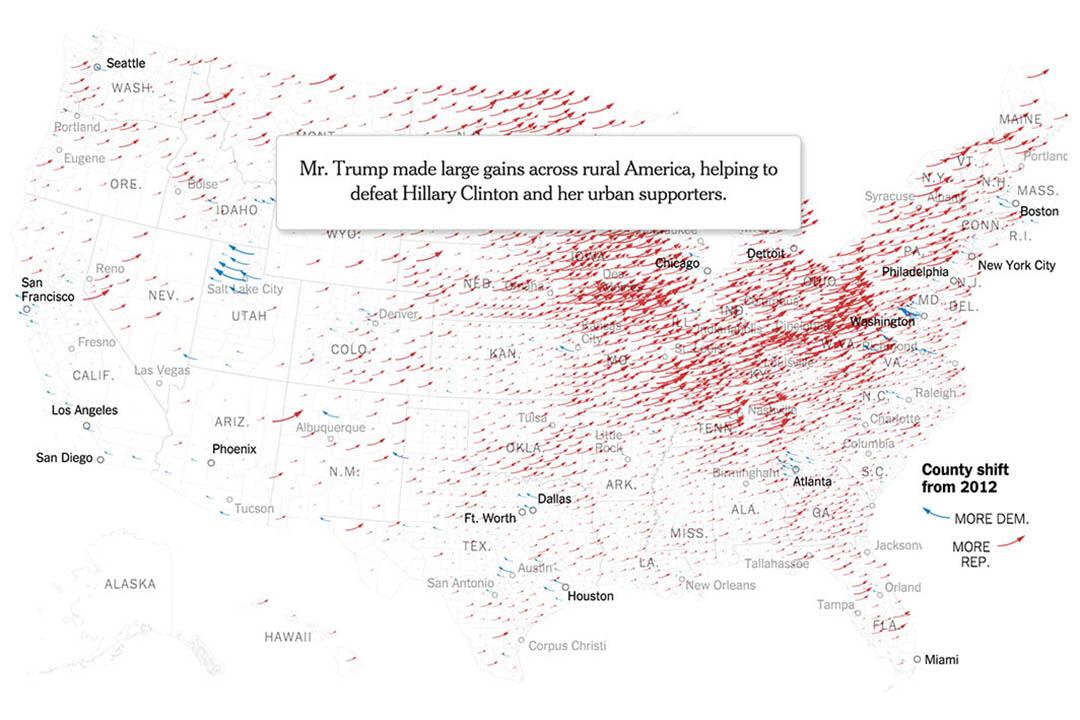 《纽约时报》的数据报导《How Trump Reshaped the Election Map》(特朗普如何重塑选举地图)截图。