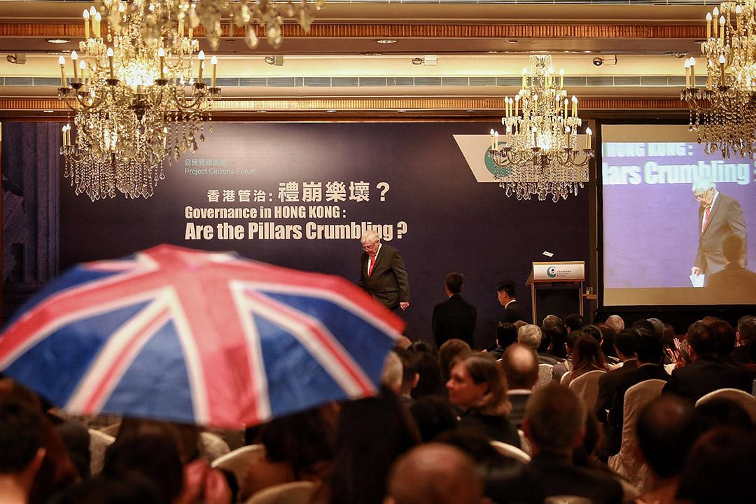"""前港督彭定康出席公民实践培育基金举办的""""香港管治:礼崩乐坏?""""公民实践论坛。"""
