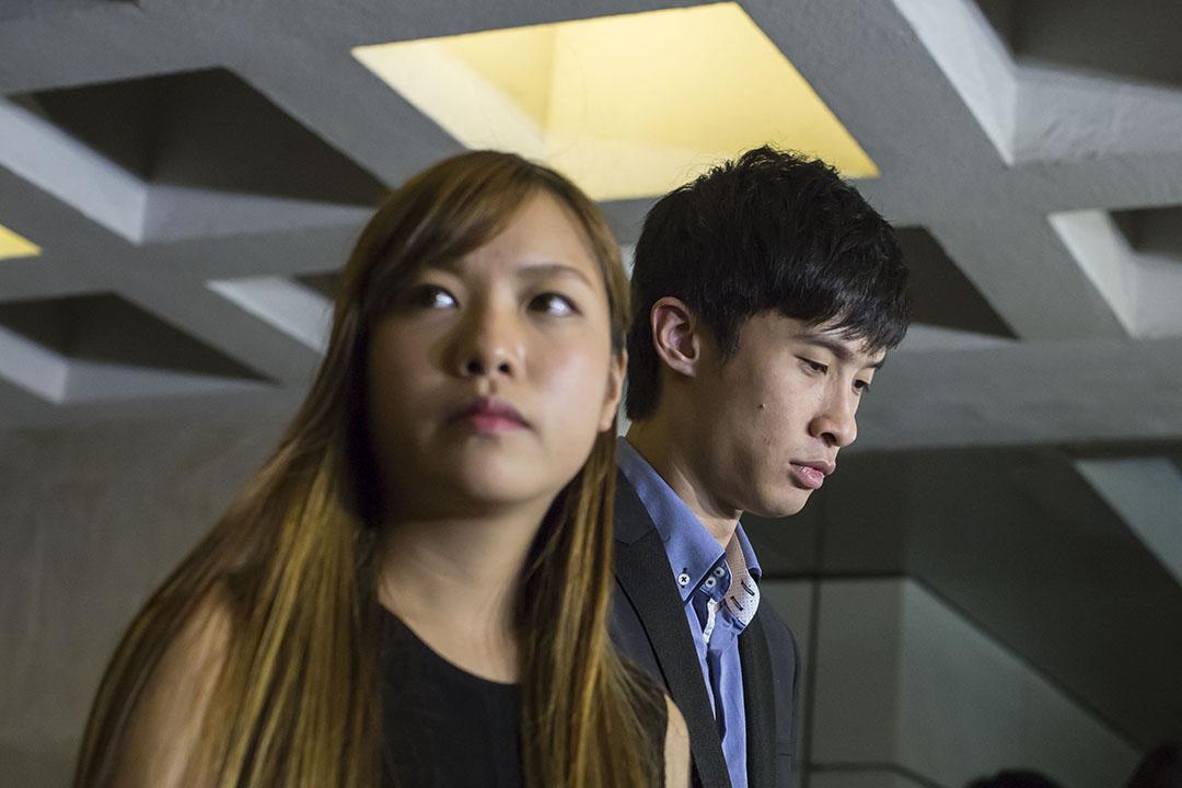 2016年11月15日,青年新政梁頌恆、游蕙禎被裁定失去議員資格,兩人晚上向記者交代。