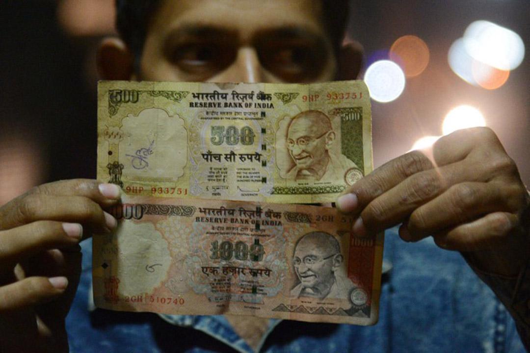 印度政府宣布,取消500和1000盧比的流通。