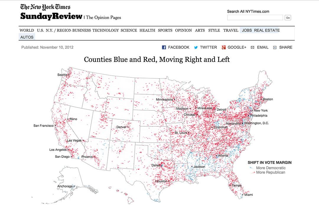 《纽约时报》的数据报导《Counties Blue and Red, Moving Right and Left》(蓝色郡和红色郡,向右和向左)截图。
