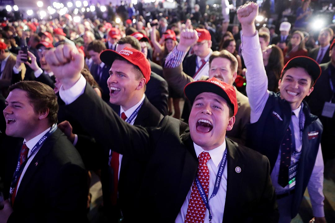 2016年11月8日,紐約,特朗普支持者為點票結果歡呼。