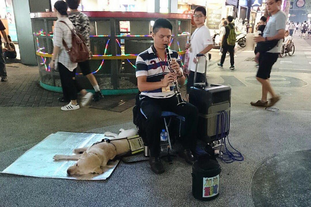 視障音樂家胡清祥在導盲犬Nico陪伴下,在西門町步行區表演。