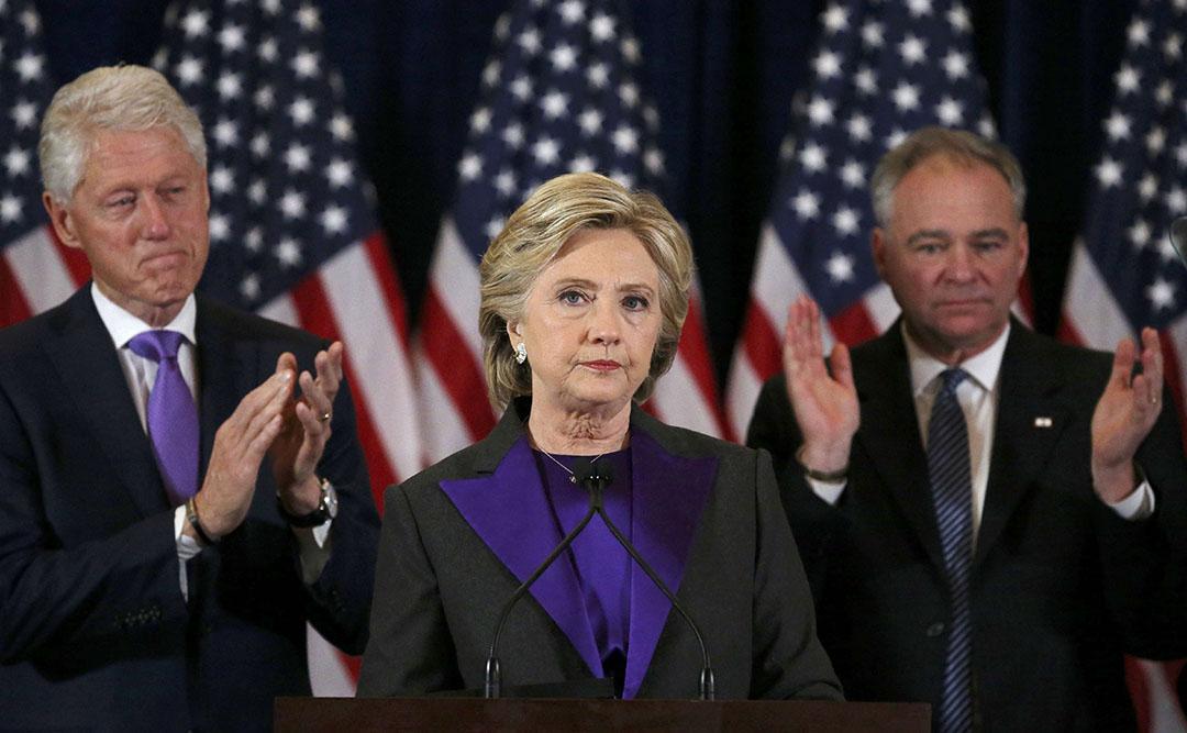 在美國大選中落敗的民主黨總統候選人希拉里發表敗選感言。。