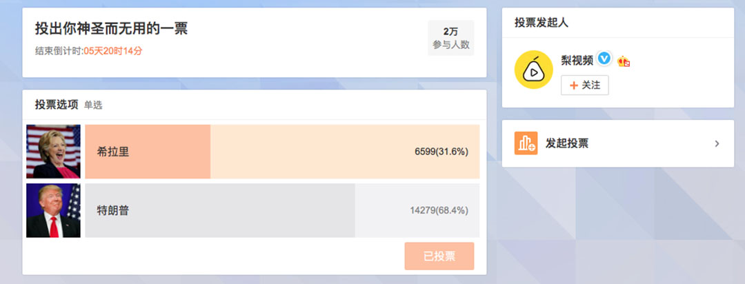 梨视频微博投票页面。