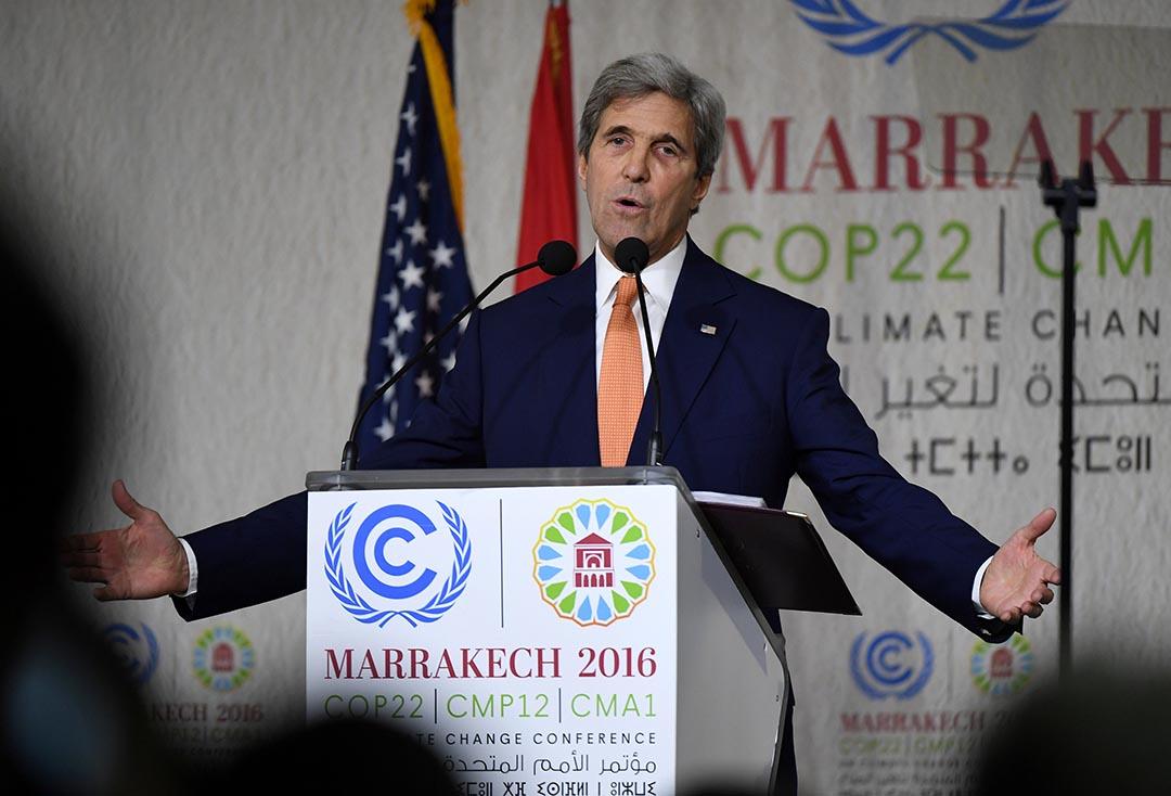 美國國務卿克里(John Kerry)在聯合國「氣候變化框架公約」第22次締約方大會(COP22)進行演講。