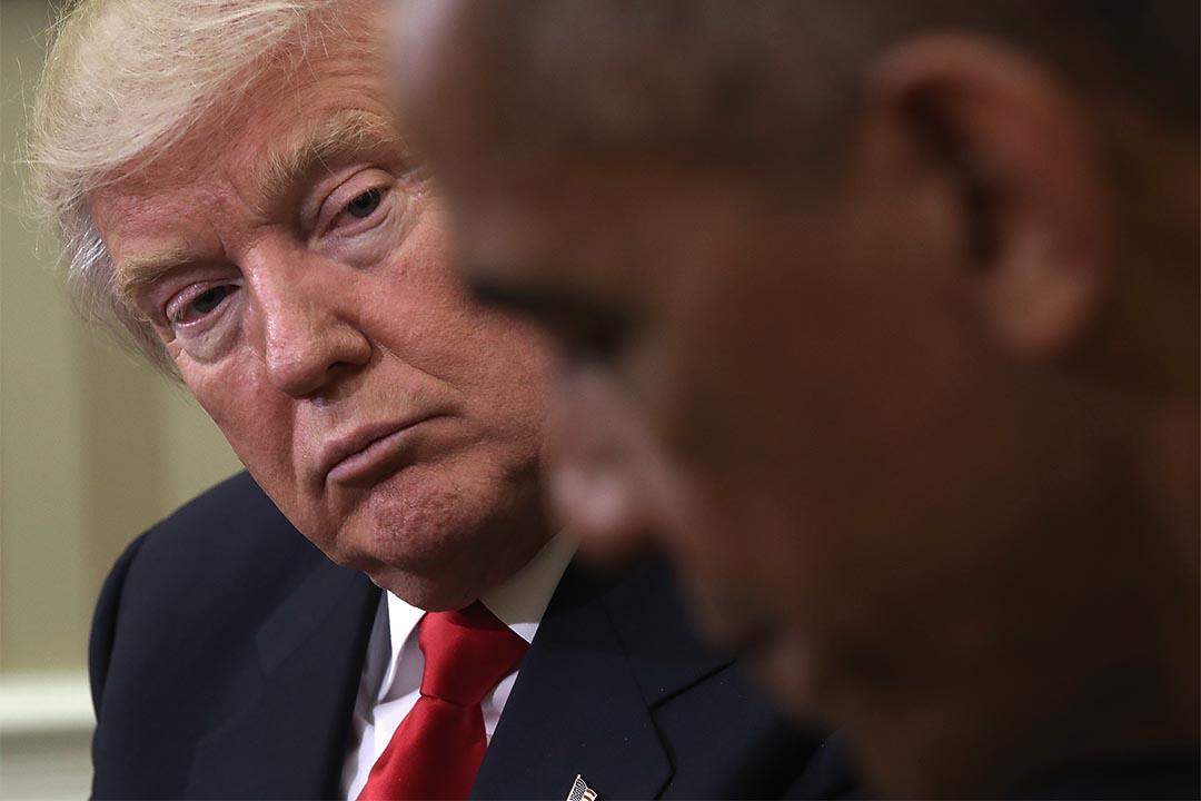 圖為2016年11月10日,特朗普在白宮與奧巴馬會面。