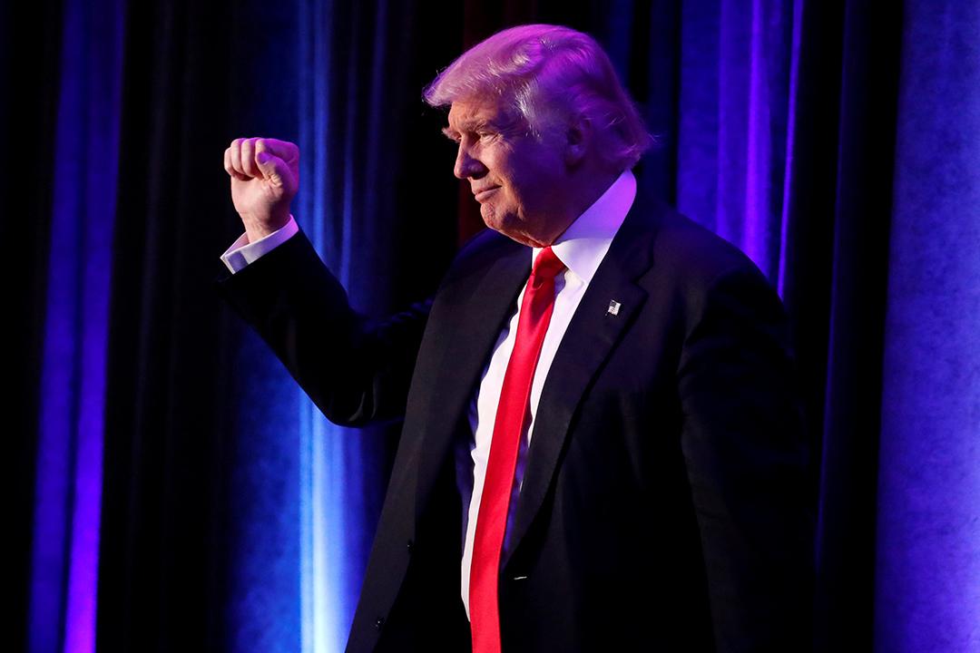 2016年11月9日,紐約,特朗普現身支持者集會接受支持者祝賀。